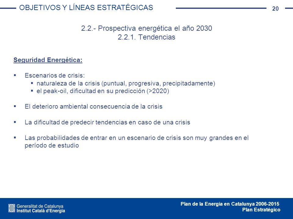 20 Plan de la Energía en Catalunya 2006-2015 Plan Estratégico 2.2.- Prospectiva energética el año 2030 2.2.1. Tendencias Seguridad Energética: Escenar