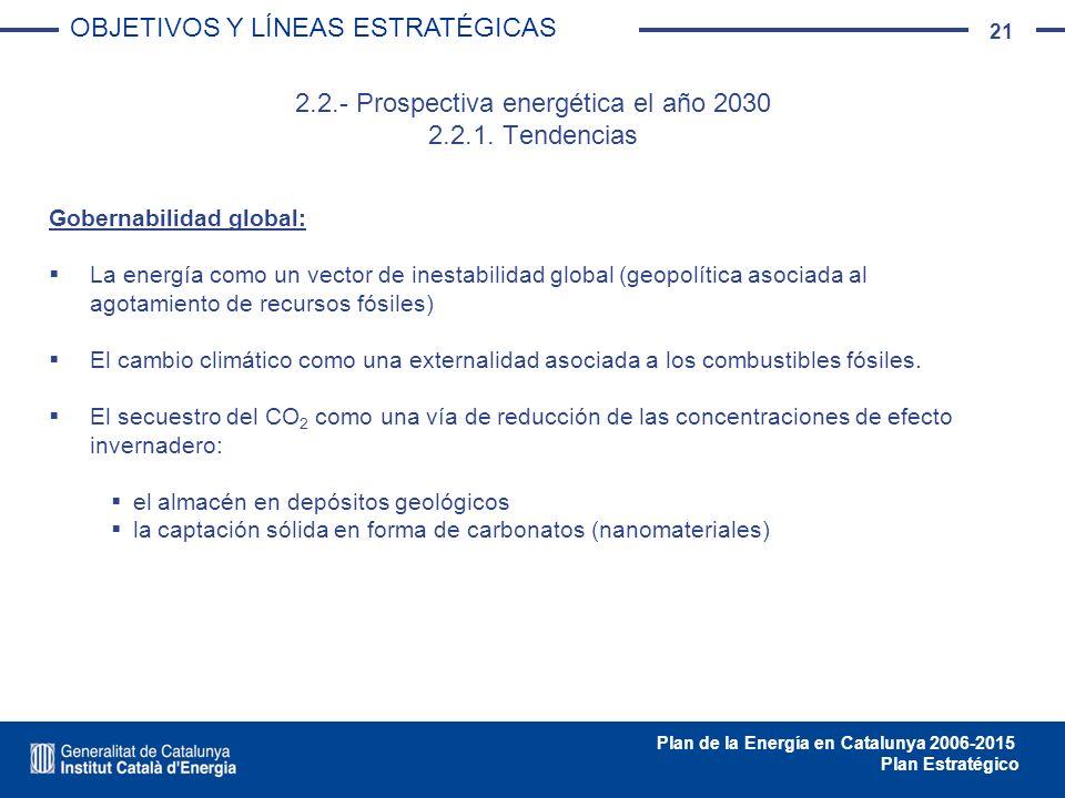 21 Plan de la Energía en Catalunya 2006-2015 Plan Estratégico 2.2.- Prospectiva energética el año 2030 2.2.1. Tendencias Gobernabilidad global: La ene