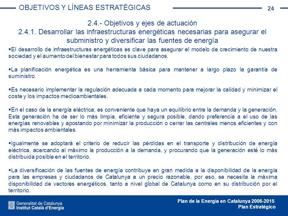 24 Plan de la Energía en Catalunya 2006-2015 Plan Estratégico El desarrollo de infraestructuras energéticas es clave para asegurar el modelo de crecim