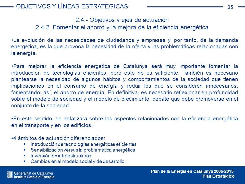 25 Plan de la Energía en Catalunya 2006-2015 Plan Estratégico La evolución de las necesidades de ciudadanos y empresas y, por tanto, de la demanda ene