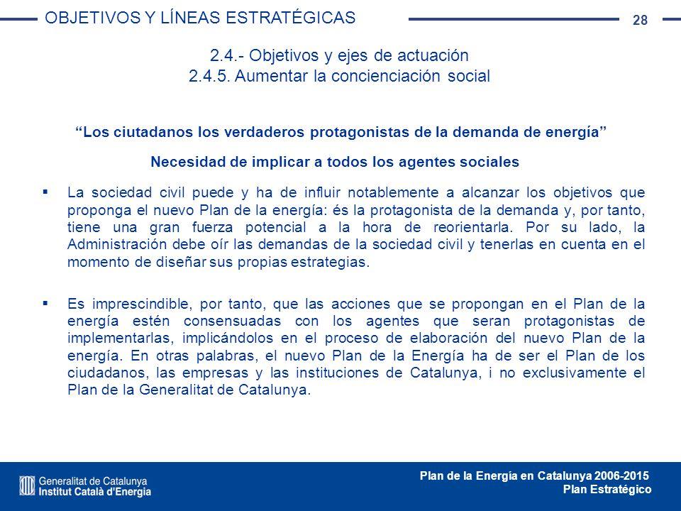 28 Plan de la Energía en Catalunya 2006-2015 Plan Estratégico La sociedad civil puede y ha de influir notablemente a alcanzar los objetivos que propon