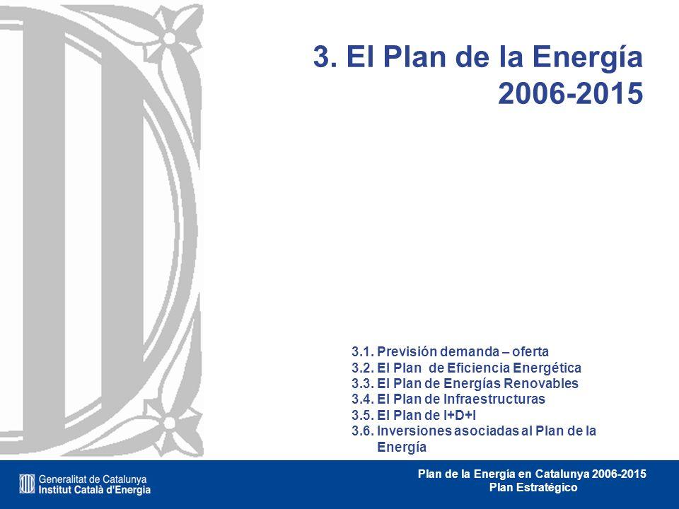 Plan de la Energía en Catalunya 2006-2015 Plan Estratégico 3. El Plan de la Energía 2006-2015 3.1. Previsión demanda – oferta 3.2. El Plan de Eficienc
