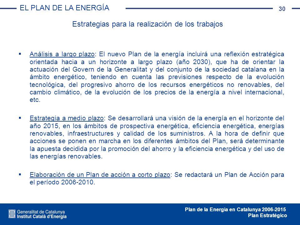 30 Plan de la Energía en Catalunya 2006-2015 Plan Estratégico Análisis a largo plazo: El nuevo Plan de la energía incluirá una reflexión estratégica o