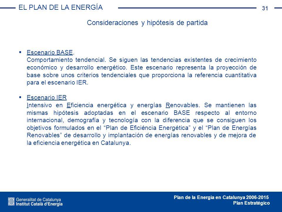 31 Plan de la Energía en Catalunya 2006-2015 Plan Estratégico Escenario BASE. Comportamiento tendencial. Se siguen las tendencias existentes de crecim