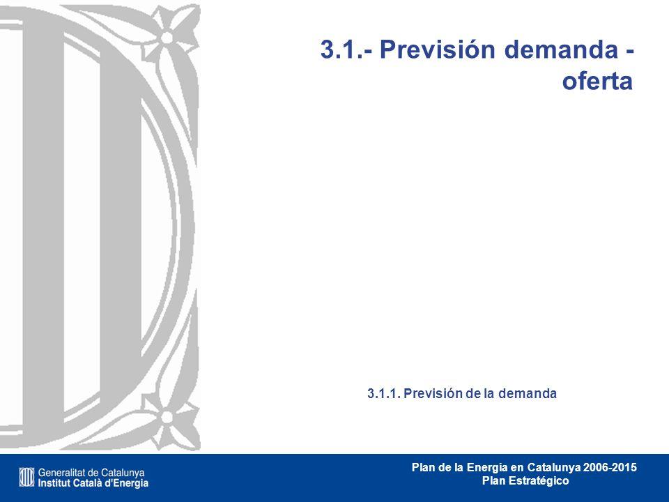 Plan de la Energía en Catalunya 2006-2015 Plan Estratégico 3.1.- Previsión demanda - oferta 3.1.1. Previsión de la demanda