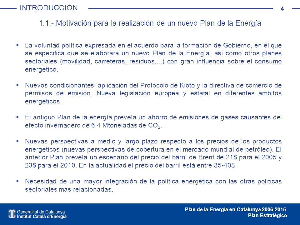 35 Plan de la Energía en Catalunya 2006-2015 Plan Estratégico 3.1.1.- Previsión de la demanda PREVISIÓN DEMANDA - OFERTA Fuente: ICAEN Incremento anual 1992-2003: 4,0% Previsión de incremento anual 2005-2015: Sin Plan de eficiencia energética: 2,0% Con Plan de eficiencia energética: 0,8%