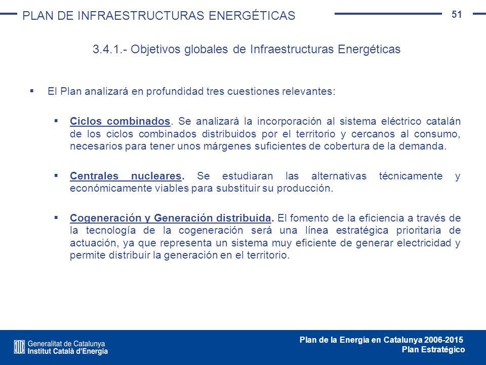 51 Plan de la Energía en Catalunya 2006-2015 Plan Estratégico El Plan analizará en profundidad tres cuestiones relevantes: Ciclos combinados. Se anali