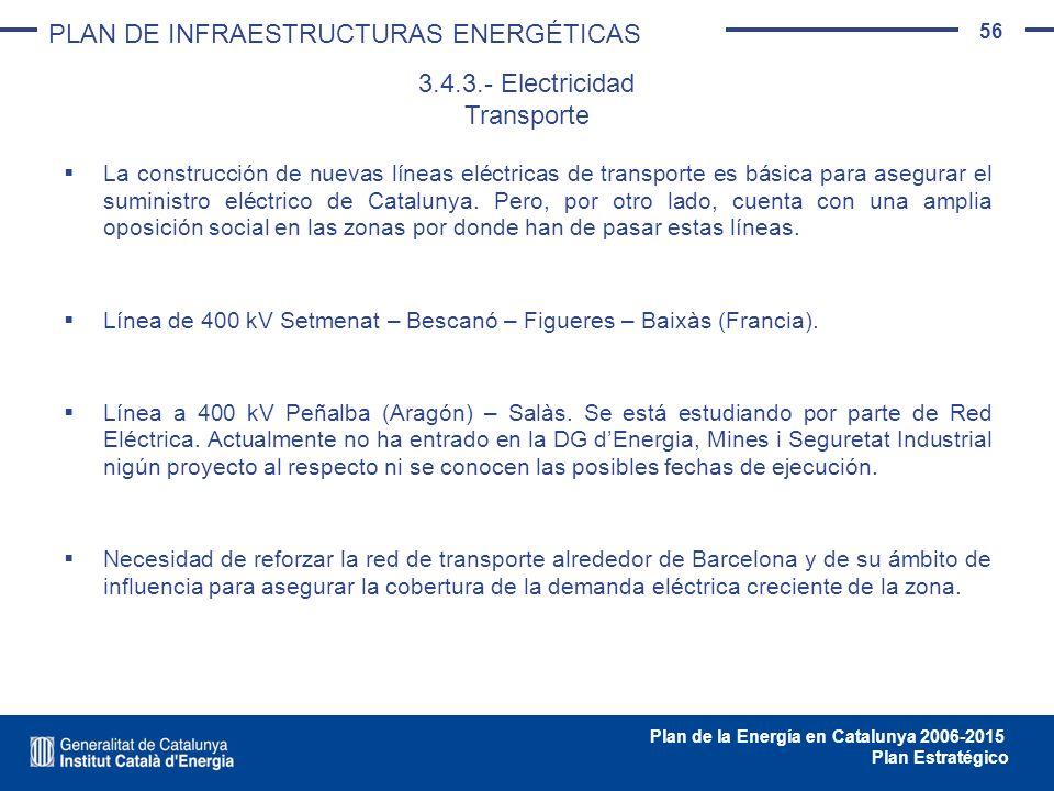 56 Plan de la Energía en Catalunya 2006-2015 Plan Estratégico La construcción de nuevas líneas eléctricas de transporte es básica para asegurar el sum