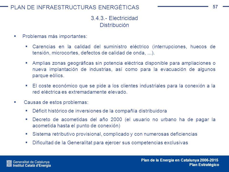57 Plan de la Energía en Catalunya 2006-2015 Plan Estratégico Problemas más importantes: Carencias en la calidad del suministro eléctrico (interrupcio
