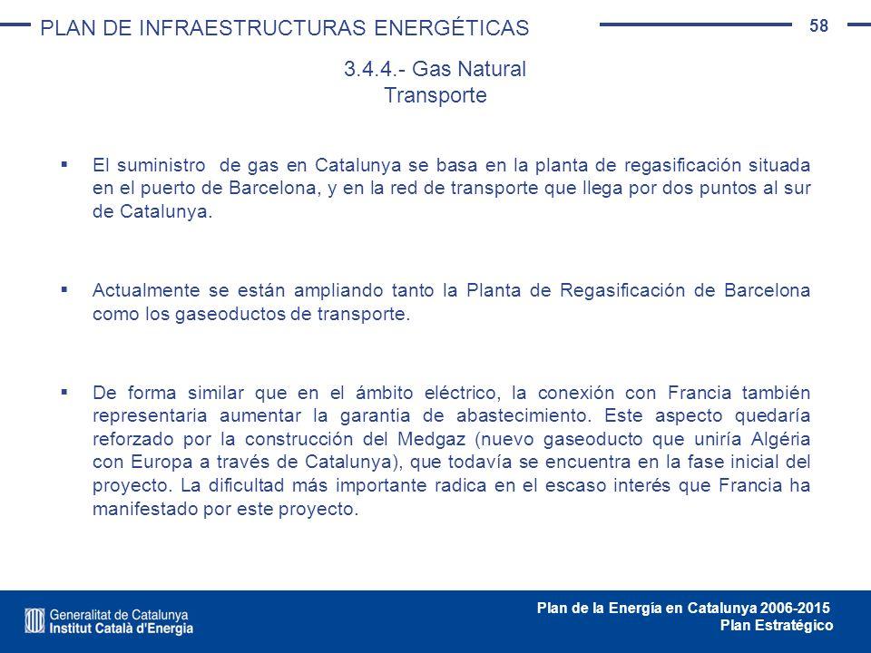 58 Plan de la Energía en Catalunya 2006-2015 Plan Estratégico El suministro de gas en Catalunya se basa en la planta de regasificación situada en el p