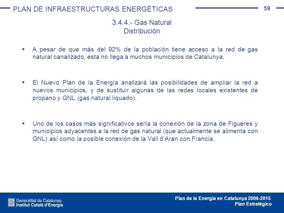 59 Plan de la Energía en Catalunya 2006-2015 Plan Estratégico A pesar de que más del 92% de la población tiene acceso a la red de gas natural canaliza