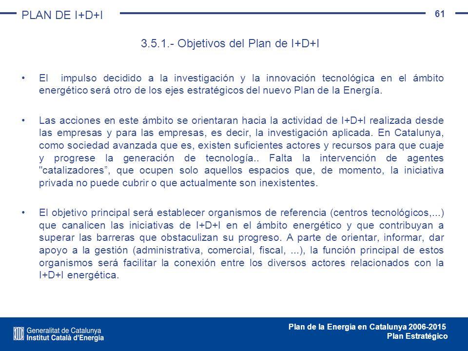 61 Plan de la Energía en Catalunya 2006-2015 Plan Estratégico El impulso decidido a la investigación y la innovación tecnológica en el ámbito energéti