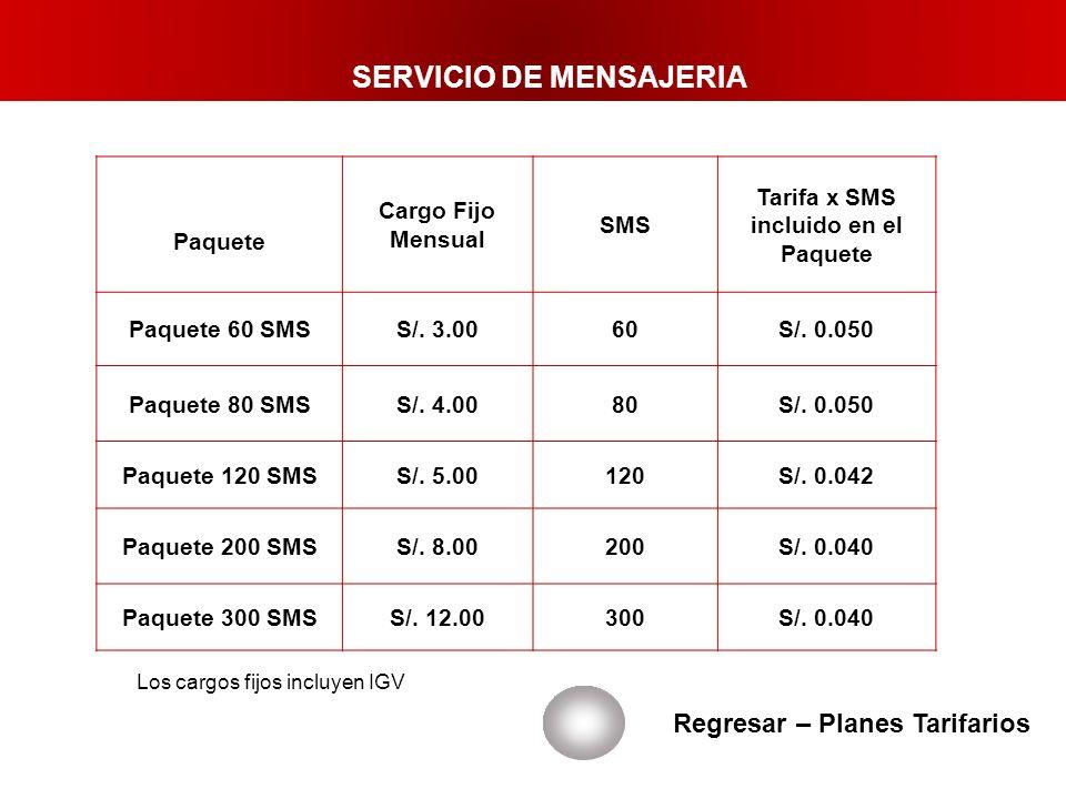Regresar – Planes Tarifarios Los cargos fijos incluyen IGV Paquete Cargo Fijo Mensual SMS Tarifa x SMS incluido en el Paquete Paquete 60 SMSS/. 3.0060
