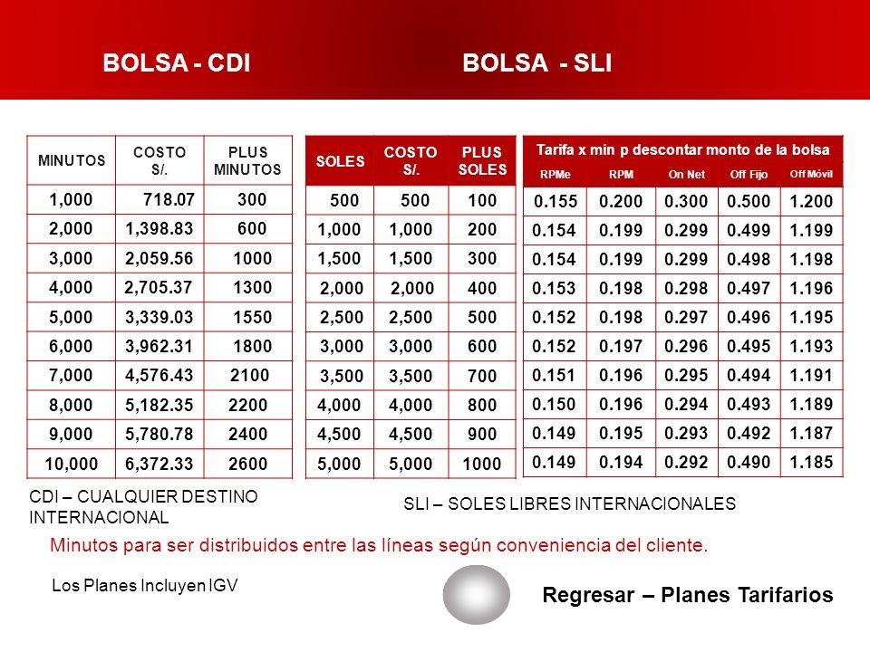 BOLSA - CDI BOLSA - SLI Regresar – Planes Tarifarios MINUTOS COSTO S/. PLUS MINUTOS 1,000 718.07 300 2,0001,398.83 600 3,0002,059.56 1000 4,0002,705.3