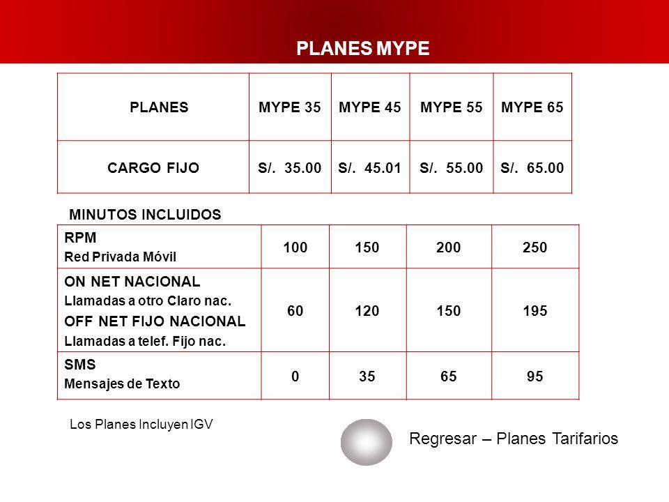 PLANES MYPE Regresar – Planes Tarifarios PLANESMYPE 35MYPE 45MYPE 55MYPE 65 CARGO FIJOS/. 35.00S/. 45.01S/. 55.00S/. 65.00 RPM Red Privada Móvil 10015