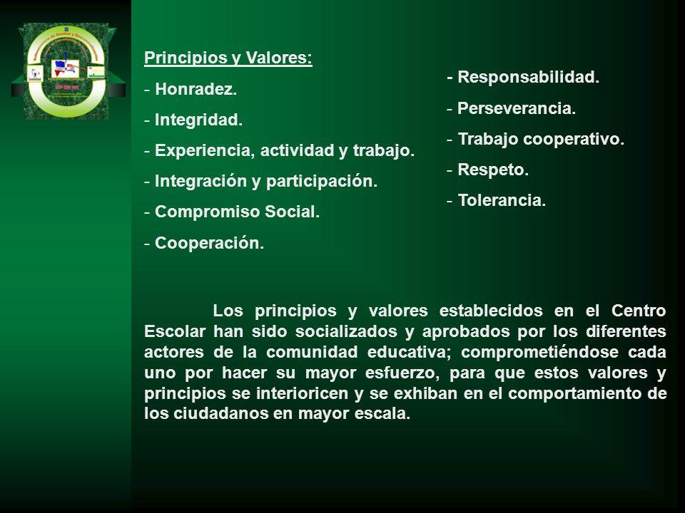 Principios y Valores: - Honradez. - Integridad. - Experiencia, actividad y trabajo. - Integración y participación. - Compromiso Social. - Cooperación.
