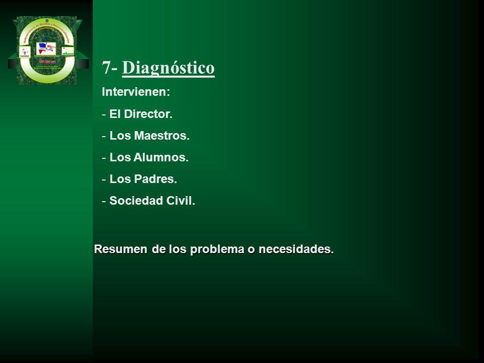 Resumen de los problema o necesidades. 7- Diagnóstico Intervienen: - El Director. - Los Maestros. - Los Alumnos. - Los Padres. - Sociedad Civil.