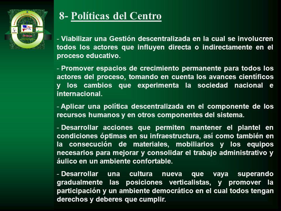 8- Políticas del Centro - Viabilizar una Gestión descentralizada en la cual se involucren todos los actores que influyen directa o indirectamente en e