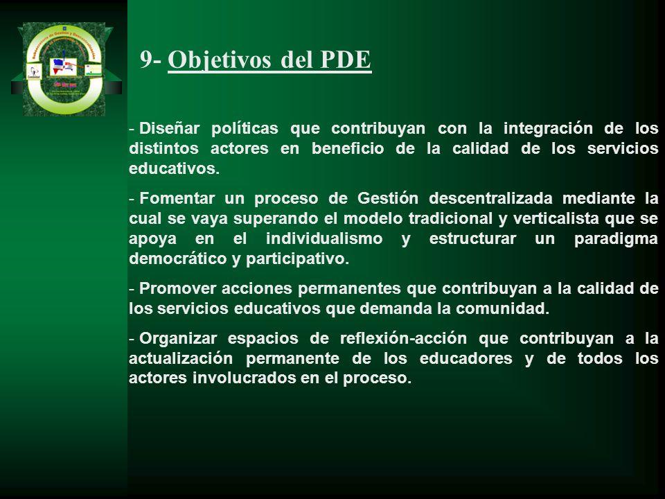 9- Objetivos del PDE - Diseñar políticas que contribuyan con la integración de los distintos actores en beneficio de la calidad de los servicios educa
