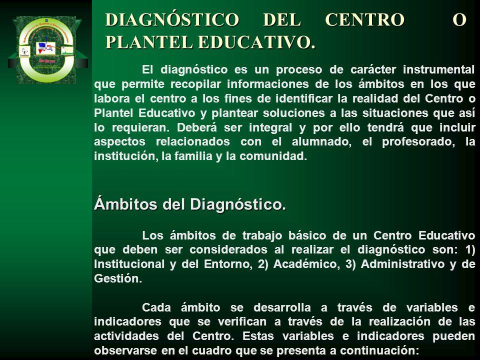 El diagnóstico es un proceso de carácter instrumental que permite recopilar informaciones de los ámbitos en los que labora el centro a los fines de id