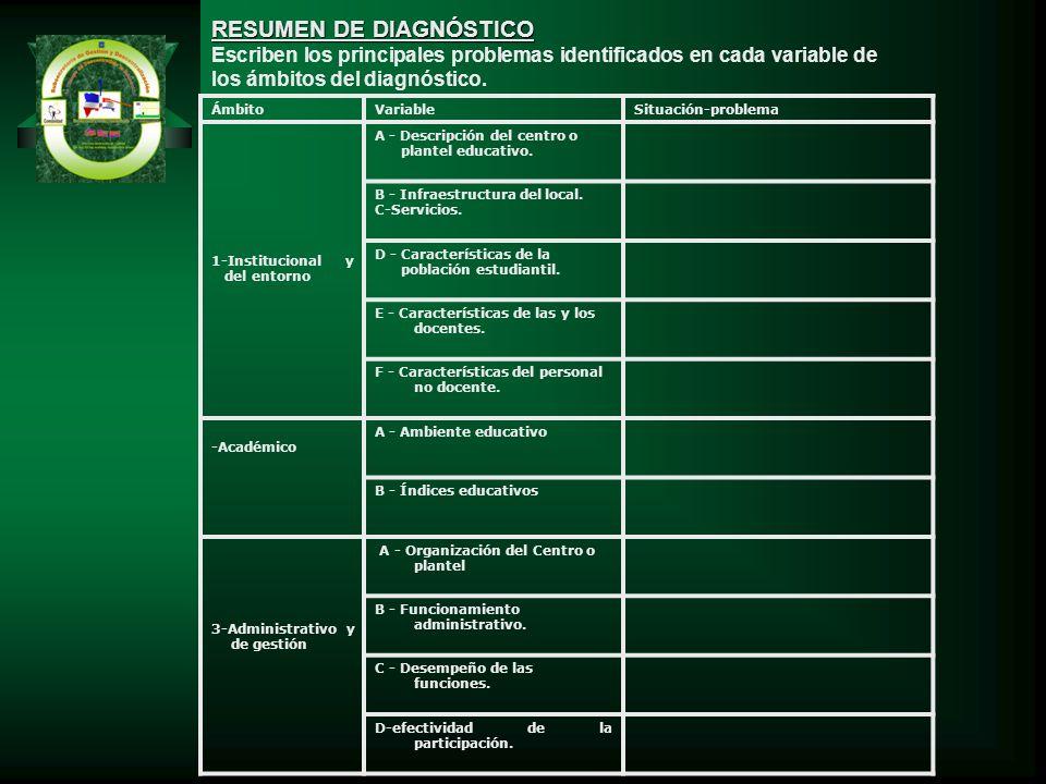 RESUMEN DE DIAGNÓSTICO Escriben los principales problemas identificados en cada variable de los ámbitos del diagnóstico. ÁmbitoVariableSituación-probl