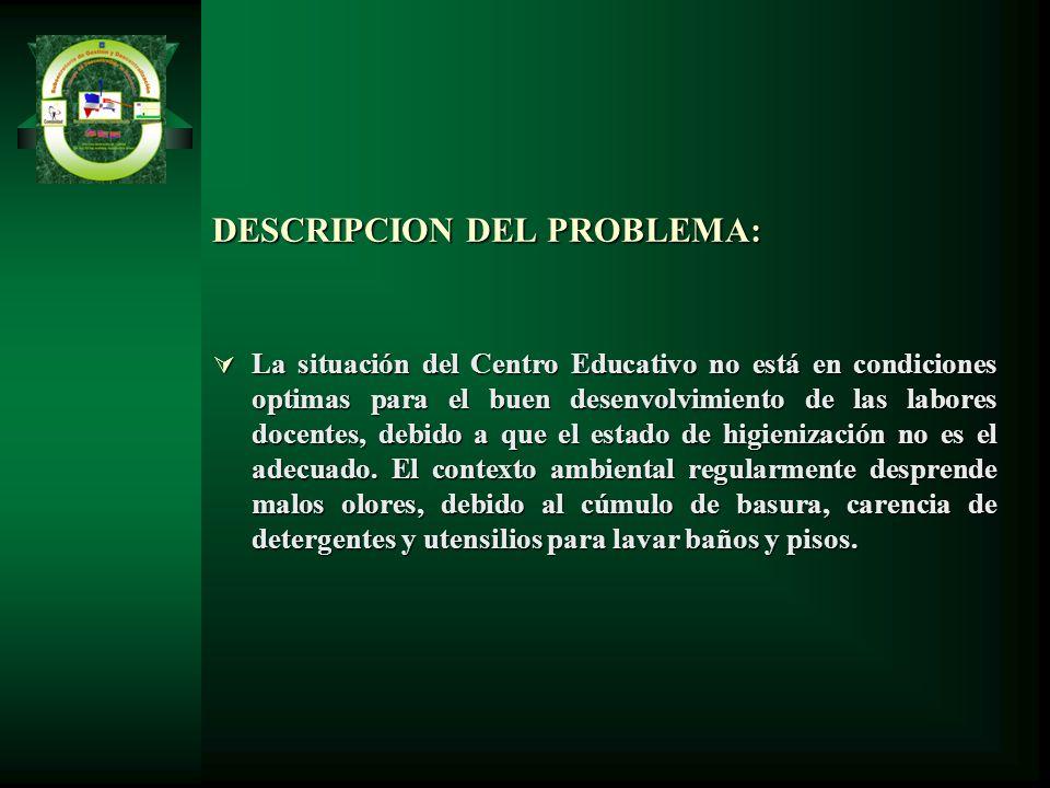 DESCRIPCION DEL PROBLEMA: La situación del Centro Educativo no está en condiciones optimas para el buen desenvolvimiento de las labores docentes, debi