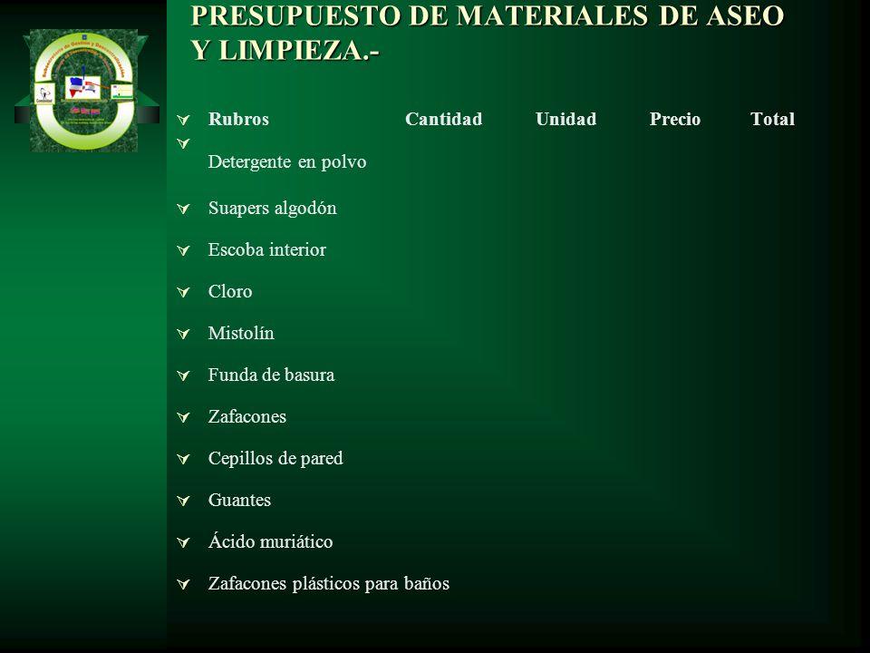 PRESUPUESTO DE MATERIALES DE ASEO Y LIMPIEZA.- Rubros Cantidad Unidad Precio Total Detergente en polvo Suapers algodón Escoba interior Cloro Mistolín