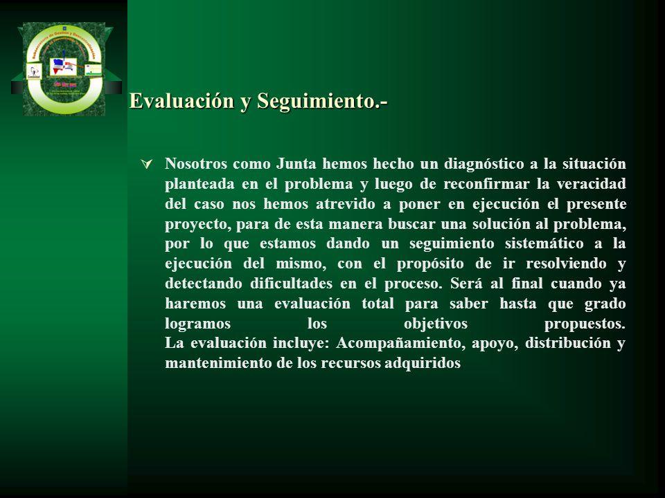 Evaluación y Seguimiento.- Nosotros como Junta hemos hecho un diagnóstico a la situación planteada en el problema y luego de reconfirmar la veracidad