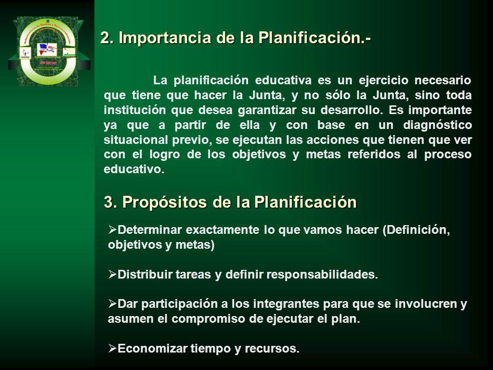 2.Importancia de la Planificación.- La planificación educativa es un ejercicio necesario que tiene que hacer la Junta, y no sólo la Junta, sino toda i