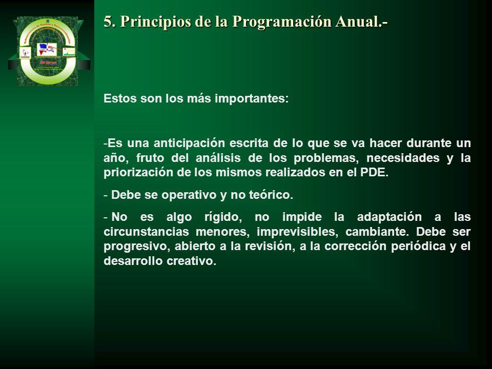 5. Principios de la Programación Anual.- Estos son los más importantes: -Es una anticipación escrita de lo que se va hacer durante un año, fruto del a