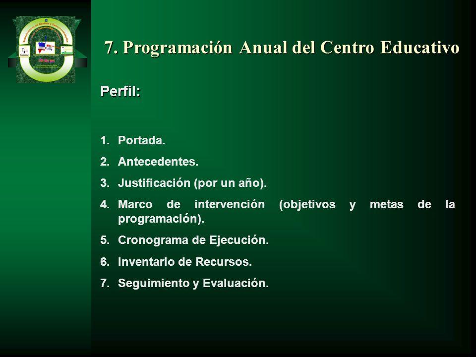 7. Programación Anual del Centro Educativo Perfil: 1.Portada. 2.Antecedentes. 3.Justificación (por un año). 4.Marco de intervención (objetivos y metas