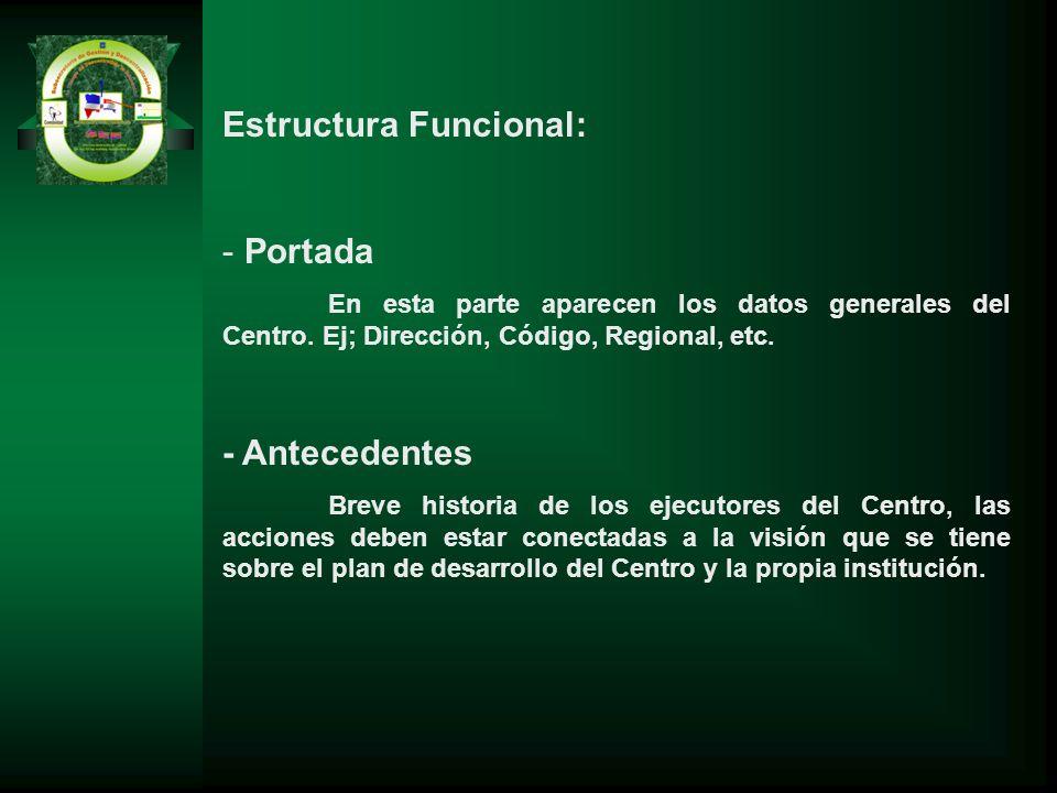Estructura Funcional: - Portada En esta parte aparecen los datos generales del Centro. Ej; Dirección, Código, Regional, etc. - Antecedentes Breve hist