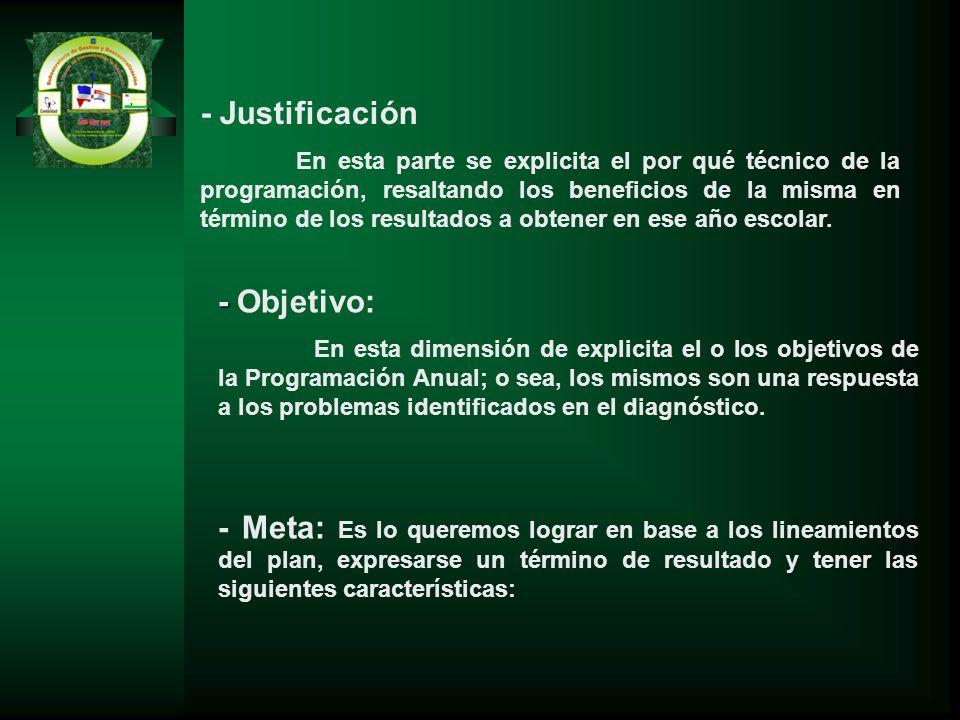 - Justificación En esta parte se explicita el por qué técnico de la programación, resaltando los beneficios de la misma en término de los resultados a