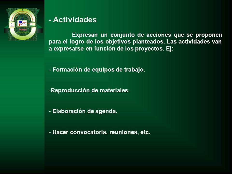 - Actividades Expresan un conjunto de acciones que se proponen para el logro de los objetivos planteados. Las actividades van a expresarse en función