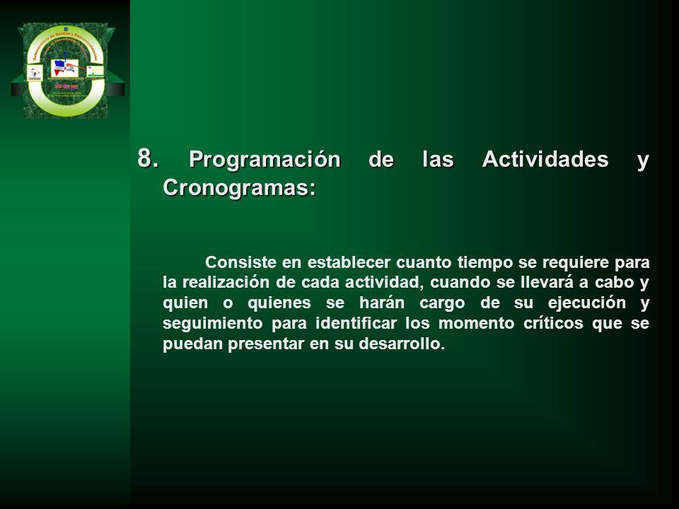 8. Programación de las Actividades y Cronogramas: Consiste en establecer cuanto tiempo se requiere para la realización de cada actividad, cuando se ll