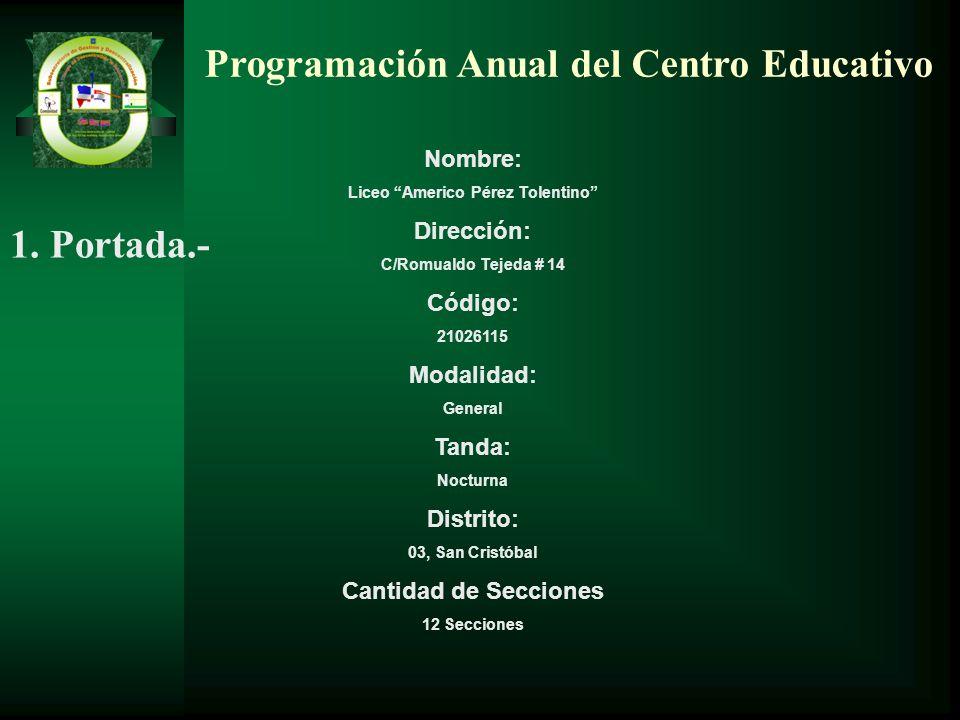 Programación Anual del Centro Educativo Nombre: Liceo Americo Pérez Tolentino Dirección: C/Romualdo Tejeda # 14 Código: 21026115 Modalidad: General Ta