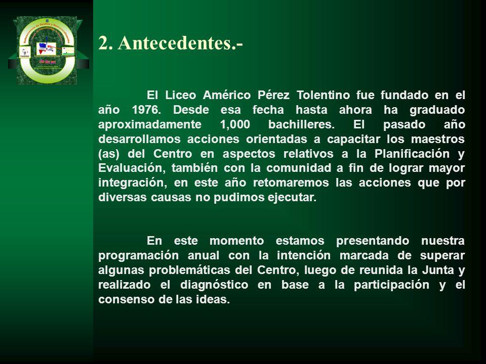 2. Antecedentes.- El Liceo Américo Pérez Tolentino fue fundado en el año 1976. Desde esa fecha hasta ahora ha graduado aproximadamente 1,000 bachiller