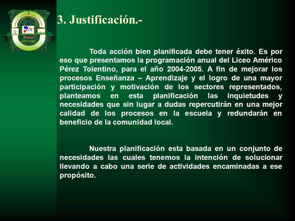 3. Justificación.- Toda acción bien planificada debe tener éxito. Es por eso que presentamos la programación anual del Liceo Américo Pérez Tolentino,