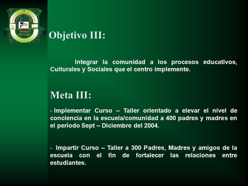 Integrar la comunidad a los procesos educativos, Culturales y Sociales que el centro implemente. Meta III: - Implementar Curso – Taller orientado a el