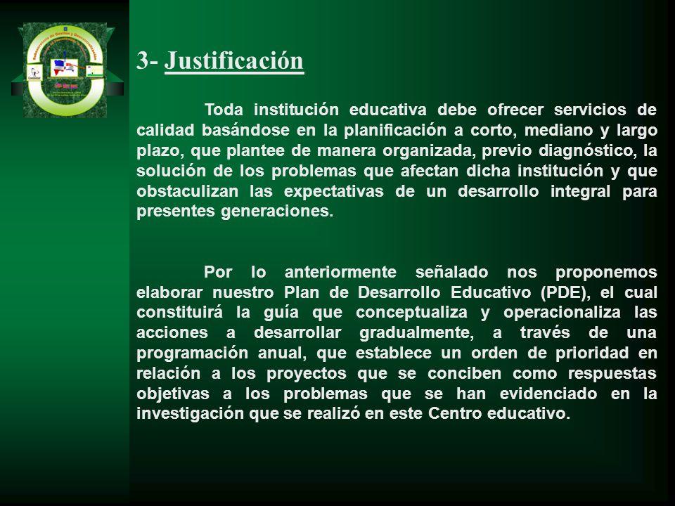 3- Justificación Toda institución educativa debe ofrecer servicios de calidad basándose en la planificación a corto, mediano y largo plazo, que plante
