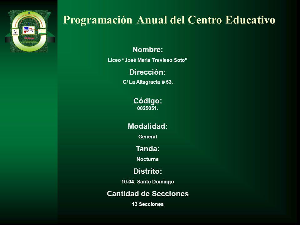 Programación Anual del Centro Educativo Nombre: Liceo José María Travieso Soto Dirección: C/ La Altagracia # 53. Código: 0025051. Modalidad: General T