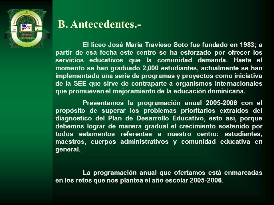 B. Antecedentes.- El liceo José María Travieso Soto fue fundado en 1983; a partir de esa fecha este centro se ha esforzado por ofrecer los servicios e