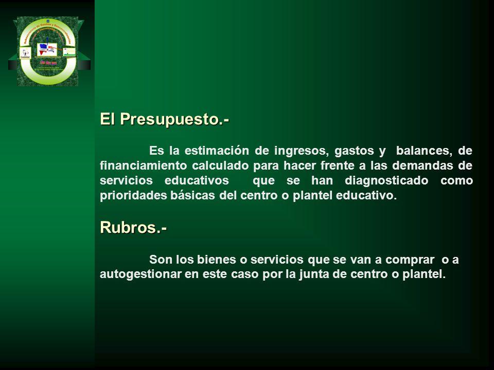 El Presupuesto.- Es la estimación de ingresos, gastos y balances, de financiamiento calculado para hacer frente a las demandas de servicios educativos
