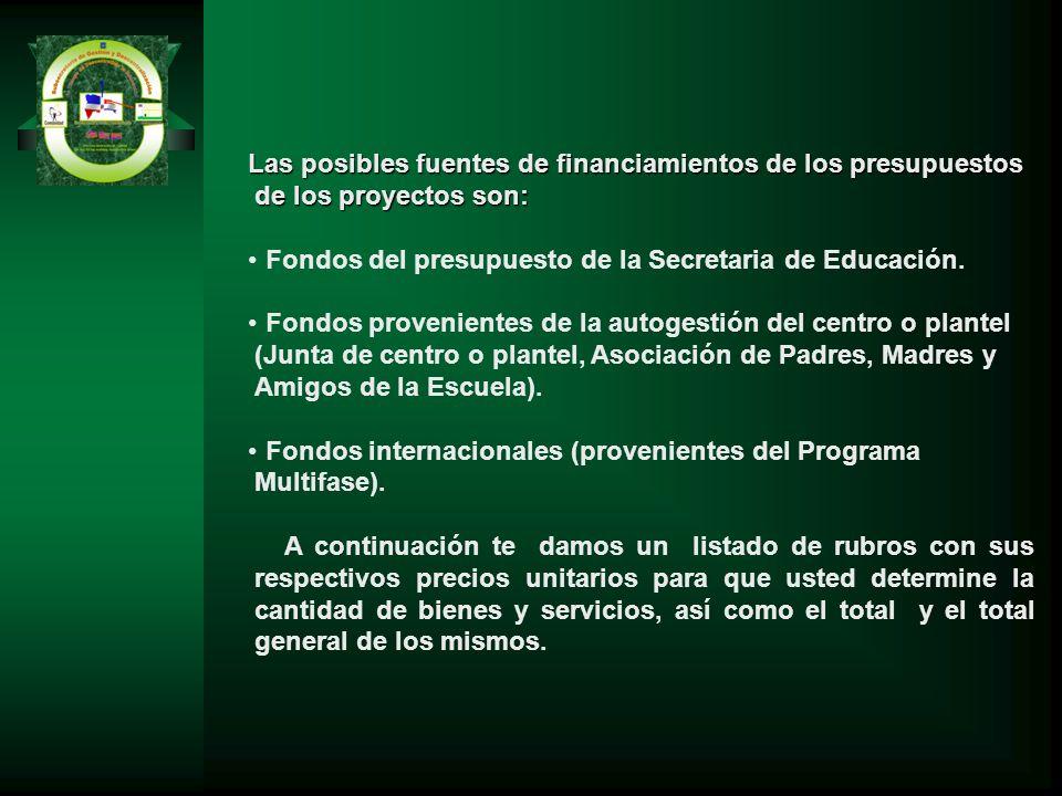 Las posibles fuentes de financiamientos de los presupuestos de los proyectos son: Fondos del presupuesto de la Secretaria de Educación. Fondos proveni