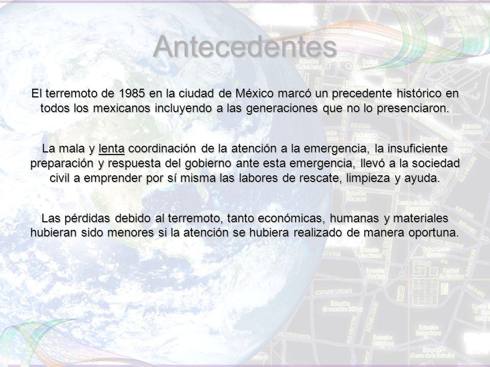 Antecedentes El terremoto de 1985 en la ciudad de México marcó un precedente histórico en todos los mexicanos incluyendo a las generaciones que no lo presenciaron.