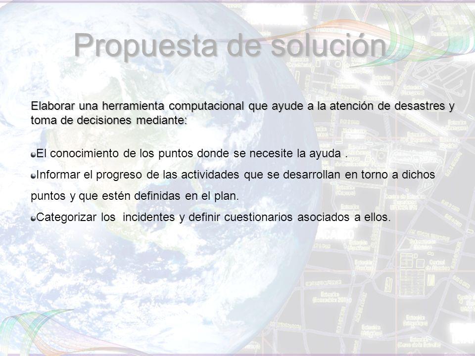 Propuesta de solución Elaborar una herramienta computacional que ayude a la atención de desastres y toma de decisiones mediante: El conocimiento de los puntos donde se necesite la ayuda.