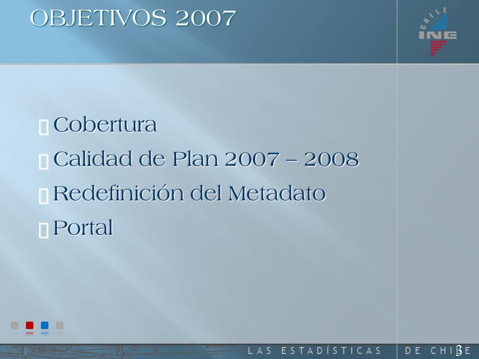 DE CHILELAS ESTADÍSTICAS 2 Revisión de Objetivos Cobertura alcanzada Productos y Metadatos Portal Conclusiones y Mejoras 2008 - 2009 AGENDA