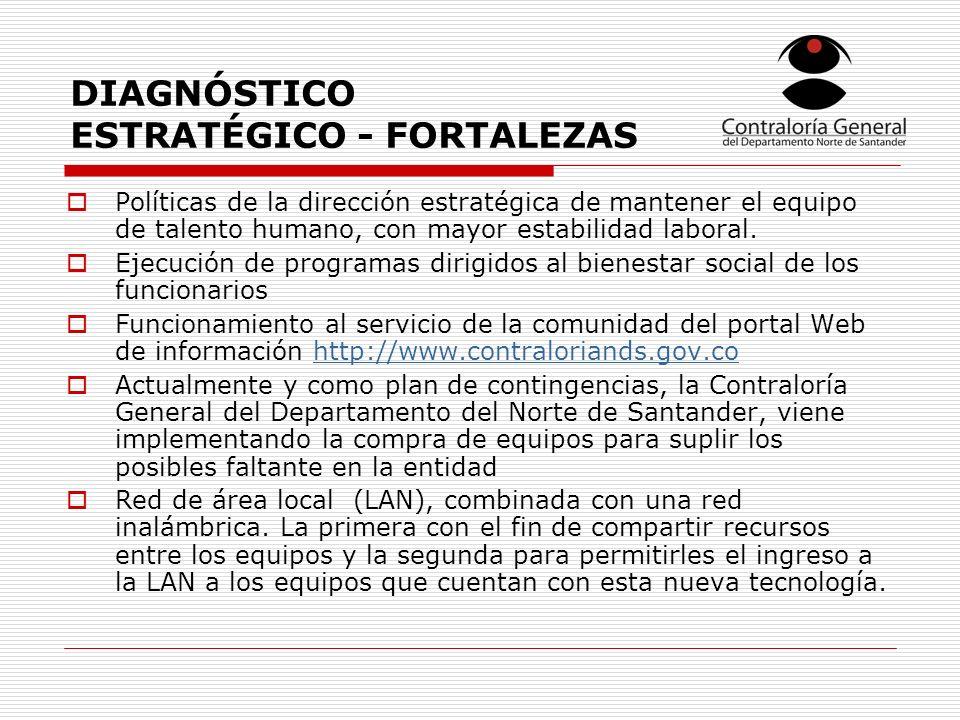 DIAGNÓSTICO ESTRATÉGICO - FORTALEZAS Políticas de la dirección estratégica de mantener el equipo de talento humano, con mayor estabilidad laboral.