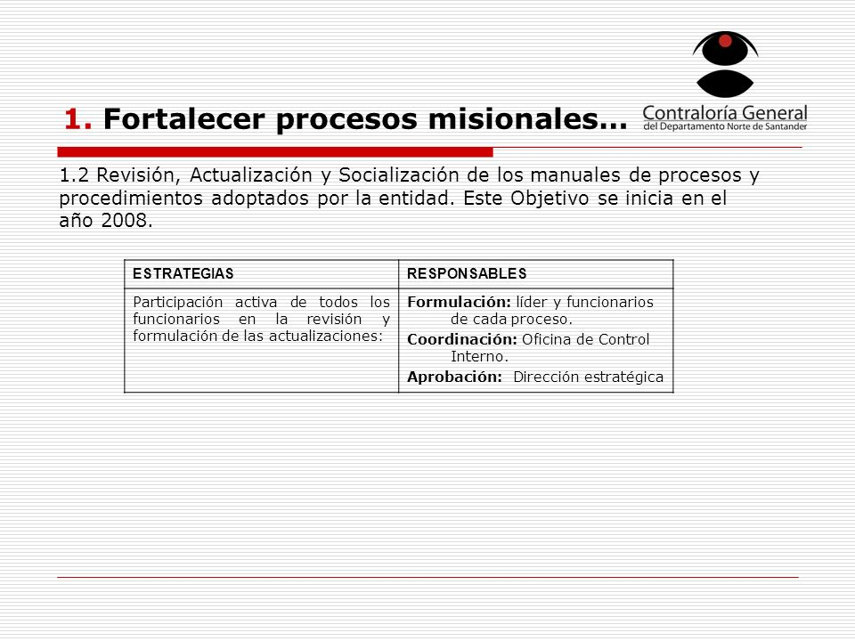 1. Fortalecer procesos misionales… ESTRATEGIASRESPONSABLES Participación activa de todos los funcionarios en la revisión y formulación de las actualiz