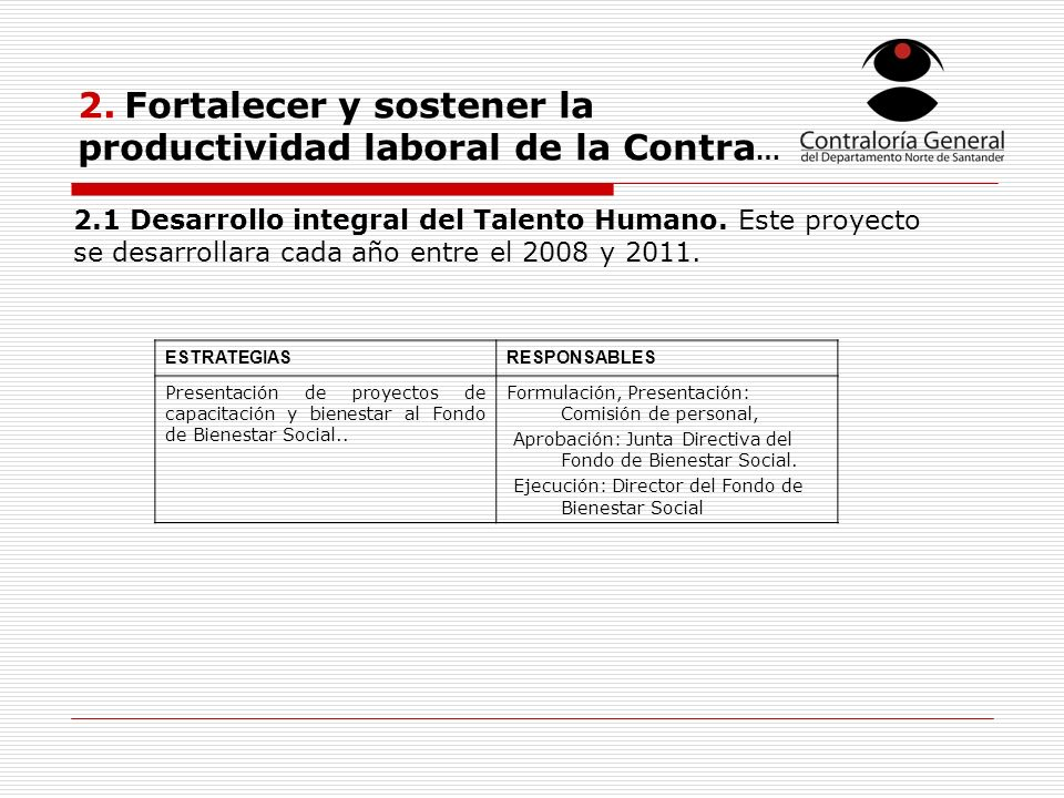 2. Fortalecer y sostener la productividad laboral de la Contra … ESTRATEGIASRESPONSABLES Presentación de proyectos de capacitación y bienestar al Fond
